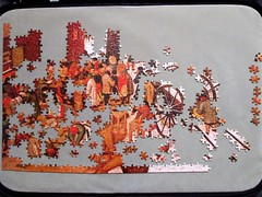 Brueghel puzzle progress report [lower left quarter] (pefkosmad) Tags: jigsaw puzzle hobby leisure pastime brueghel painting art fineart falcon secondhand complete unopened sealed project 3000pieces progressreport flemish genre