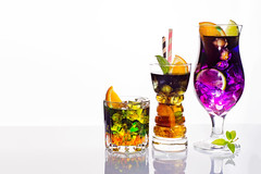 Selection of colorful festive drinks, alcoholic beverages and cocktails in elegant glasses on white (lyule4ik) Tags: cocktail background set alcohol collection drink ice cold fruit glass water isolated mint orange rum soda lemon lime white collage food freshness liquor party refreshment black citrus closeup cool garnish green summer sweet syrup taste tropical juice fresh cola liquid strawberry gin many blackberry cuban group herb ingredient reflection rosemary