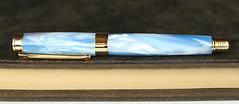 Sky Pearl Blue Fountain Pen - Bock Black Nib (BenjaminCookDesigns) Tags: fountainpen custom bespoke engraved personalised classic vintage artdeco style gift birthday christmas fpgeeks fpn giftforhim giftforher füllfederhalter pearl blue