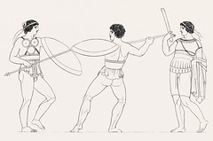 Pyrrhic dance from An illustration of the Egyptian, Grecian and Roman costumes by Thomas Baxter (1782-1821).Digitally enhanced by rawpixel. (Free Public Domain Illustrations by rawpixel) Tags: illustration psd publicdomain vector otherkeywords afterlife anillustrationoftheegyptian ancient ancientgreek antique art artistic baxter belief brave cc0 dance drawing empire fearless fighter gods grecian grecianandromancostumes greek historic historical history holding muscle mythology old oldtime pyrrhic pyrrhicdance romans safety shield sketch standing stick thomasbaxter vintage worship