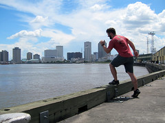 Nate jumping into the Mississippi River (pr0digie) Tags: neworleans nate downtown city cityscape mississippi river