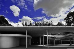 Turistas - Tourists (ricardocarmonafdez) Tags: sevilla ciudad city cityscape streetphotography cielo sky nubes clouds edition effect lineas curves mirador lookout viewpoint people gente selectivecolor arquitectura architecture nikon d850 24120f4gvr