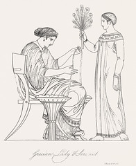 Grecian lady and servant from An illustration of the Egyptian, Grecian and Roman costumes by Thomas Baxter (1782-1821).Digitally enhanced by rawpixel. (Free Public Domain Illustrations by rawpixel) Tags: illustration publicdomain otherkeywords afterlife anillustrationoftheegyptian ancient ancientgreek antique art artistic baxter belief cc0 drawing empire feather gods grecian grecianandromancostumes grecianlady grecianladyandservant greek helper historic historical history holding ladies mythology old roman romans rope servant sitting sketch standing thomasbaxter vintage worker worship