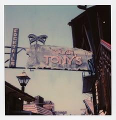 "Old Tony's Neon (tobysx70) Tags: polaroid originals color 600 instant film slr680 old tony's neon ""tonys on the pier"" fishermans wharf municipalpier redondo beach los angeles la county california ca sign illuminated lit cocktails bar seafood restaurant palm tree waterfront pizzeria blue sky 052818 memorial day polawalk toby hancock photography"