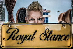 Royal stance (Melissa Maples) Tags: gonio გონიო georgia gürcistan sakartvelo საქართველო asia 土耳其 apple iphone iphonex cameraphone spring me melissa maples selfportrait woman travel coach bus shorthair blonde yellow text sign royalstance photographer reflection