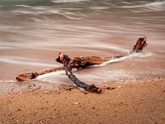 Wooden Model (urfnick) Tags: canon eos 1300d diftwood sand ocean waves longexposure le