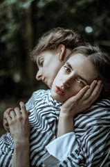 The Sisters (Laura Callsen) Tags: vsco dark portrait siamese twins striped dress models two people spooky weird love it hmfg2018