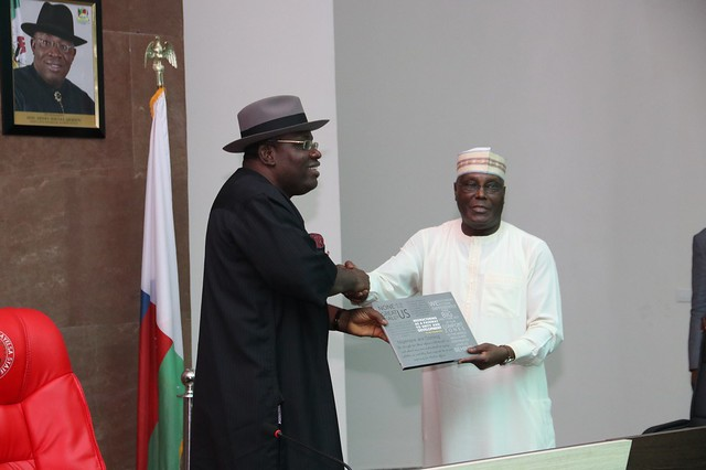 HSDickson-Former Vice President of Nigeria, Alhaji Atiku Abubakar consults with PDP Bayelsa State 19th June 2018