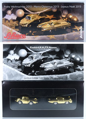 SCH-P-1710.80-set (adrianz toyz) Tags: diecast toy model 171080 schuco piccolo set frohe weihnachten 2013 merrychristmas gold plated american us concept car 1950s reissue general motors firebird ii gm ford fx atmos