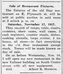 1917 - Hirstein closes Star Restaurant and moves to Vollmer bldg - Enquirer - 8 Nov 1917
