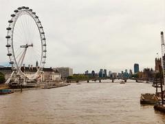 London from Golden Jubliee Bridge (hannahdawkins) Tags: london hungerford golden jubilee bridge eye summershine summer sunshine river thames england june bestofjune iphone westminister big ben