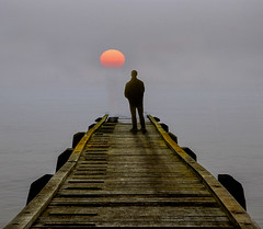 Standing on the Pier (adrians_art) Tags: people shadows pier woodenstructures silhouettes dawn sunrise weather foggy misty riverthames water tide tidal kent uk england sky clouds blue red orange sun
