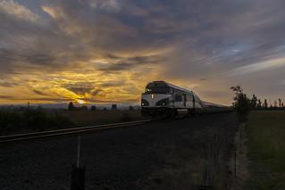 Amtrak Cascades at sunset