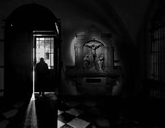 Michaelakirche / Vienna (heinzkren) Tags: church kirche wien vienna door tür kreuz cross eastersunday ostern blackandwhite schwarzweis bw sw nonochrome panasonic lumix city exit ausgang candid easter sakral kirchlich christentum eingang entree shadow light window fenster stimmung mood ostersonntag crucifixion crucifixiongroup crucifix kreuzigung michaelerplatz michaelerkirche silhouette