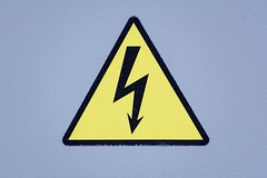 Sign of high voltage (Jess Aerons) Tags: symbol door arrow sign simple danger high hazard safety warning energy lightning shock metal electrical closeup volt background contrast silhouette fixed understandable bolt object flash beware color yellow icon dangerous vertical industry triangle prevent security outline gray design alarm power caution currentdischarge electric clear black electricity label voltage industrial risk электричество опасно щиток электроэнергия опасность