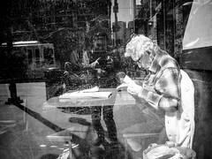 Long life (jeff_tidwell) Tags: reflection dirty scratch window blackandwhite candid streetphotography street