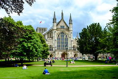 Winchester Cathedral (gwpics) Tags: building historic people facade religion summer elevation 11thcentury outside protestant front landscape history heritage england winchester cathedral uk architecture hampshire hants person unitedkingdom belief exterior faith outdoors