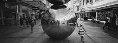 The Spheres ii (@fotodudenz) Tags: hasselblad xpan film rangefinder 30mm ultra wide angle adelaide radelaide south australia ilford xp2 super rundle mall 2018 panorama panoramic balls reflection