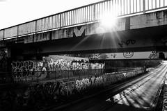Crossroads (gambajo) Tags: 1year1town1lens brühl blackandwhite blackwhite black white bw outdoors public bridge sun sunlight graffiti urban shadows street streetphotography art artwork x100s fujix100s fujifilmx100s strase brücken sonne contrast