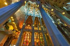 Sagrada Familia Nave (fate atc) Tags: antonigaudi barcelona basilica catalonia catholic expiatori familia sagrada spain cathedral ceiling church columns dela helicoidal holyfamily hyperboloid lighting modernism nave roof stainedglasswindows