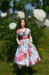 The rose of my life (JL_the_Lion) Tags: theroseofmylife bjd sd 13 doll iplehouse eid yur my karen outdoor garden spring peony flower sommer dress from dreamdolldress etsy