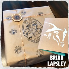 "We went to a lovely ""Lord of the Rings"" party yesterday, so you know I had to decorate the present. ‍♂️#rubberstamp #craft #lotr #hobbit #tolkien #brianlapsley (Brian Lapsley) Tags: rubberstamp craft lotr hobbit tolkien brianlapsley"