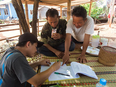 Local villagers identifying potential sampling area
