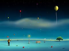 Balões na Praça. (Marcel Caram) Tags: digitalart digitalartwork artedigital arquitetura architecture salvadordali surrealism surreal photoshop photoshopart fineart fineprint decoração posters magritte maxernst dechirico marcelcaram marcarambr praça balão azul