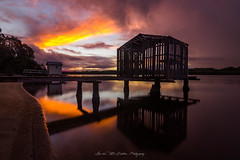 **Sunset Along the River** (damian.mccudden.photography) Tags: sunset nature fineart sunshinecoast qld australia canon tokina reflections water sand clouds moody jetty boatsheds river damianmccuddenphotography light sun afternoon autumn amazing epic banger longexposure