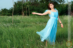 Bride is dancing on green field (Hosting and Web Development) Tags: dress d90 dance smile stand sunlight shoulder summer sunshine green grass tree arm asia eyes evening person femininity female happy hair hand horizontal body beautiful bride costume cyan face field nikon woman young portrait one outdoor