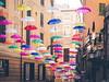 Umbrella Streets - Genova, Italy (Sebastian Bayer) Tags: installation schirm strase farbe fluchtpunkt bunt schirme kunst gasse genua regenschirm dekoration italien