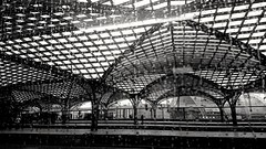 Köln Hbf - Cologne Main station (Analog Berliner) Tags: köln cologne hbf bahnhof hauptbahnhof dach roof glasdach nw nrw db bw sw mainstation germany niemcy