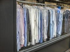 #Flickrfriday #267 #Hangingoutclothes (Jomak1) Tags: jomak1 flickrfriday dry cleaner window rack clothes shirt hanger