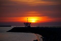Sunsetscape (tanyalinskey) Tags: sunsetscape seascape landscape 7dwf sky pier sun red sunset ocean sea water bay skyline beach bridge dusk