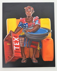 Painting exhibited at the Zeitz MoCAA museum of Cape Town (Sokleine) Tags: musée museum industrialheritage mocaa industry silo capetown lecap afriquedusud southafrica africa afrique volume espace décor sculpture statue double zimbabwe paining peinture tableau femme woman portrait