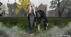 Don't Forget About Me (Edith Alderbury) Tags: game thrones sim second life blonde black dress ghotic horse