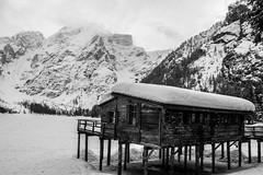 Lago di Braies (vitalypalmieri) Tags: snow mountain landscape winter inverno struttura structure casa home baita alpi alps dolomiti dolomites lago lake freddo cold legna wood ghiaccio ice