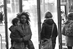 3-25 Market Candid 29 (TheseusPhoto) Tags: people streetphotography street sanfrancisco sanfran candid blancoynegro blackandwhite monochrome city woman child mother