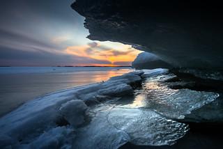 Sunset behind ice