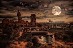 Milt's Diner (brian_stoddart) Tags: composite colour desert cars rocks moon diner bats clouds sky old vintage imagined texture oil paint effect