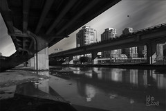 Via - Reduction (Warren06) Tags: vancouver canada britishcolumbia westcoast falsecreek city bridge concrete structure monotone monochrome shadow reflection towers highrise condos dwellings urban blackandwhite condo