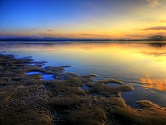 Sandy patterns II (elphweb) Tags: beach water ocean sea bay estuary sand sandy sun sunset hdr highdynamicrange nsw australia seaside