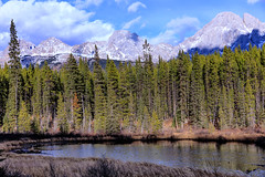 Spillway Lake, Peter Lougheed Provincial Park, Alberta (aud.watson) Tags: canada alberta kananaskistrail route40 canadianrockies mountain mountains mountainside valley valleys glacialvalley rock rocks sky cloud clouds snow peterlougheedprovincialpark spillwaylake lake water glaciallake forest wood trees tree conifers pine pines spruce fir landscape turnervalley ca