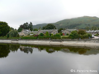 Lake and a historical town in the margin, Scotland
