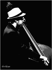 "One bass ""hat"" (""SnapDecisions"" photography) Tags: tucson arizona jazz music bass nikon d750 bw monochrome"
