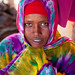 Portrait of a somali woman in colorful hijab, North-Western province, Berbera, Somaliland