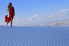 "White Sands National Monument (Symbiosis) Tags: reddress whitesands ladyinred womaninred whitesandsnationalmonument newmexico nationalparkservice desert portrait landscape sand bluesky redandwhite desertlandscape desertportrait model gypsum alamogordo holiomonafb whitesandsmissilerange contours desertcontours lines pattern ""footprints"" ""footprintsinthesand"" ""red whiteandblue asos ""asoscom"" ""asosswim gypsy"