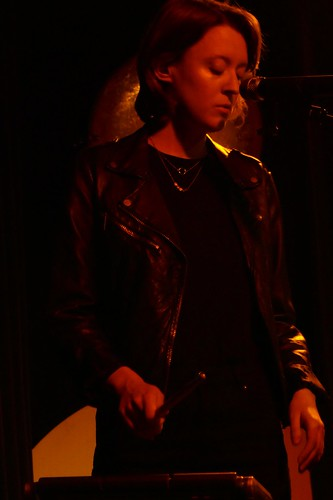 Gosia on drums in red @ POKiS, Płock, 06.04.2018