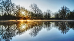 Symmetry at Sammy's (Mark Buchan Jones) Tags: reflection uk countrypark oldham sammysbasin bluewater symmetry manchester still sunrise failsworth dawn daisynook mist england hollinwoodcanal fishingplatform tranquil bluesky harmonious peaceful