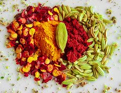 [Explored] - Spices (adrianstevejoseph) Tags: food spices macromondays condiment turmeric cardamom fennel chilli